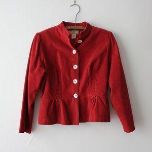 Vintage April Cornell Red Corduroy Blazer